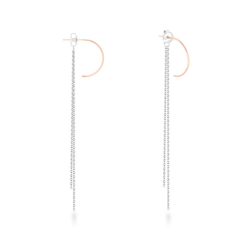[925silver]Armonia Combi and Black Half round Two way Silver Earrings